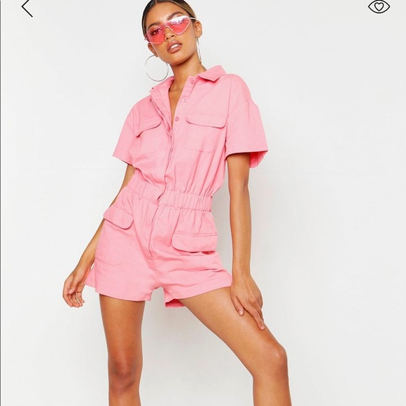 preview of newest shop for official NWT BooHoo pink denim Playsuit Romper sz 12 NWT